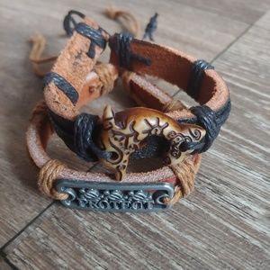 NWOT 2 Leather Bracelets Turtle Protect & Dolphin